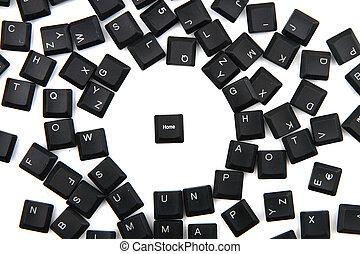 llaves, hogar, keybord, plano de fondo, teclado