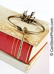 llaves, libro, viejo