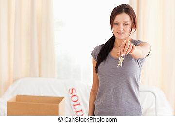llaves, lindo, valor en cartera de mujer