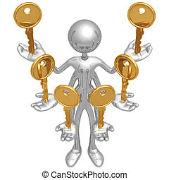 llaves, manejo, múltiplo