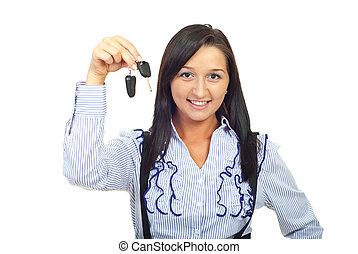 llaves, mujer coche, joven, tenencia