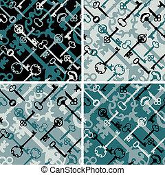 llaves, patrón, black-blue, esqueleto