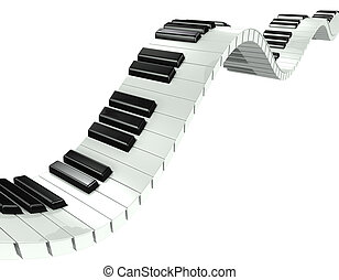 llaves, piano, ondulado, 3d
