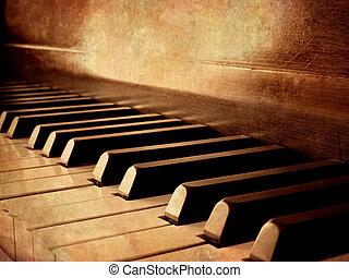 llaves, piano, sepia