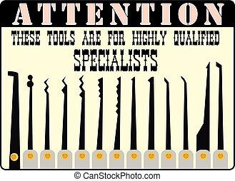 llaves, profesionales, picklock, maestro, o