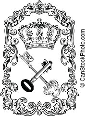 llaves, real, marco, corona