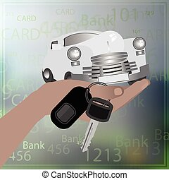 llaves, retener, coche., retro, mano