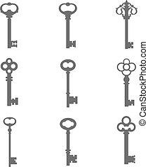 llaves, siluetas, conjunto, nueve, vector