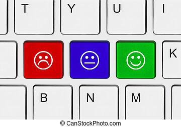 llaves, sonrisa, ordenador teclado