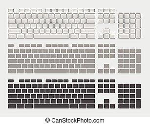 llaves, vector, conjunto, teclado