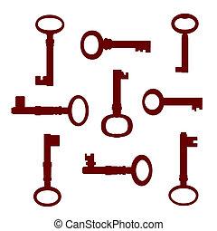 llaves, vendimia, conjunto, rojo