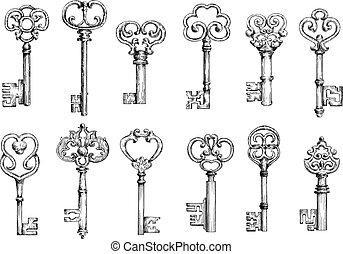 llaves, vendimia, estilo, dibujos, grabado