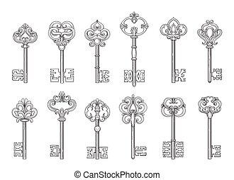 llaves, vendimia, línea, vector, iconos