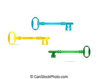 llaves, vidrio, resumen, conjunto, coloreado