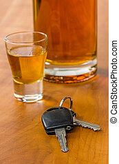 llaves, vidrio, tiro, coche