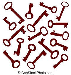 llaves, viejo, colección