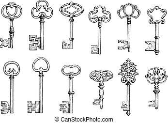 llaves, viejo, dibujos, conjunto, esqueleto