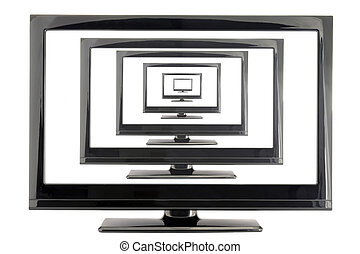 llcd tv monitor with many screens isolated on white background. empty space