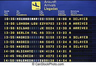 llegada, aeropuerto, tabla