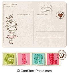llegada, conjunto, postal, sellos, nena