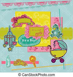 llegada, elementos, pedacito, -, vector, diseño determinado, bebé, álbum de recortes, o, reservación