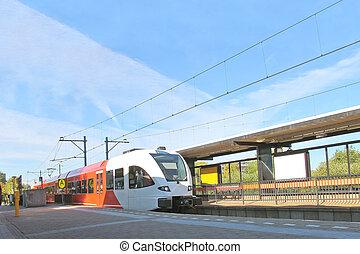 llegada, estación, tren del ferrocarril