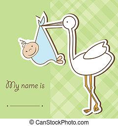 llegada, lindo, niño, trae, cigüeña, bebé, tarjeta