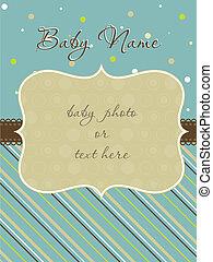 llegada, marco de la foto, tarjeta, bebé