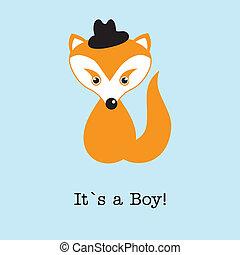 llegada, niño, card., anuncio, zorro, nacimiento, bebé