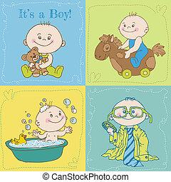 llegada, niño, -, ducha, vector, bebé, o, tarjeta