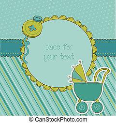 llegada, niño, marco de la foto, vector, lugar, texto, bebé...