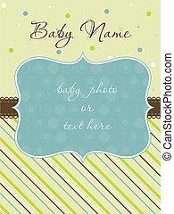 llegada, niño, marco, tarjeta, bebé