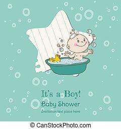 llegada, niño, texto, -, ducha, vector, lugar, bebé, su, ...