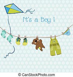 llegada, niño, texto, o, ducha, vector, lugar, bebé, su, tarjeta