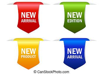 llegada, nuevo, vector, cintas