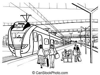 llegada, pasajeros, bosquejo, eléctrico, gente, suburbano, ...