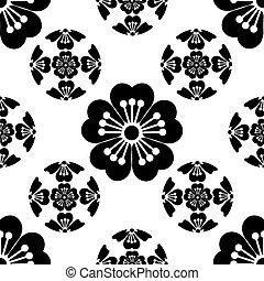 llegada, símbolos, flor, primavera, aislado, japonés, Ilustración,  seamless, estilizado, Plano de fondo, negro,  sakura, blanco, simboliza