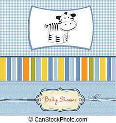 llegado, bebé, tarjeta, zebra, nuevo