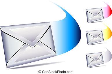 llegar, email, enviado