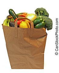 llenado, bolso de la tienda de comestibles