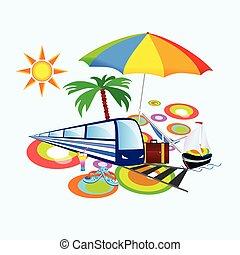llenar, con, palma, y, paraguas, vector, ilustración