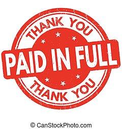 lleno, agradecer, estampilla, pagado, señal, usted, o