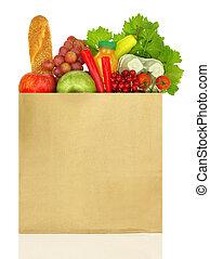 lleno, aislado, bolsa, papel, comestibles, blanco