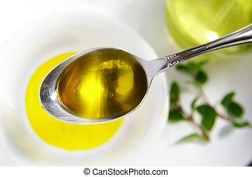 lleno, amor, aceite, encima, tazón, hierbas, cuchara