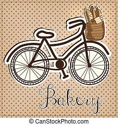 lleno, bicicleta, vendimia, retro, cesta, o, bread