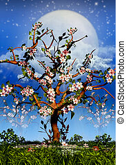 lleno, blosom, cerezos, luna, noche