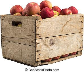 lleno, cajón, manzanas