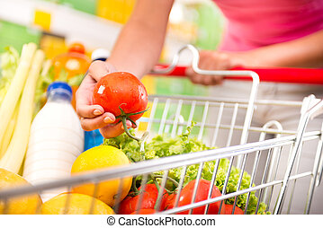 lleno, carro de compras, supermercado