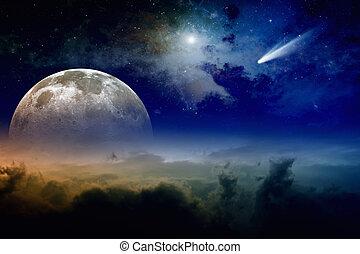 lleno, cometa, luna