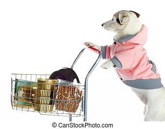 lleno, compras, alimento, empujar, perro, carrito